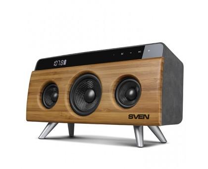 Домашняя аудио система SVEN HA-930 бамбук (30 Вт, Bluetooth, FM, USB, LED-дисплей, 2x2200мА*ч)