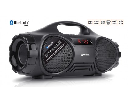 Колонка REAL-EL X-727 Black (bluetooth, подсветка, TWS, USB, Micro SD, handsfree)