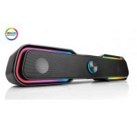 Колонки REAL-EL S-180 black (саундбар с динамической RGB подсветкой)