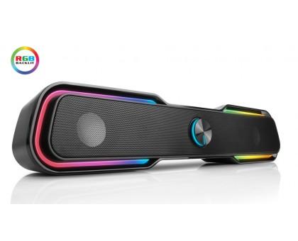Колонки REAL-EL S-180 black (саундбар з динамічним RGB підсвічуванням)