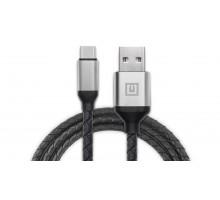 Кабель REAL-EL Premium USB A - Type C Leather 1m черный-серебро
