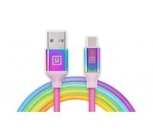 Кабель REAL-EL Premium USB A - Type C Rainbow 1m