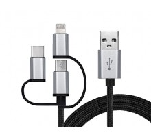 Кабель REAL-EL USB 2.0 Premium AM - 3in1 1m черный