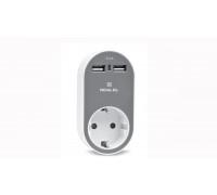 Зарядний USB-пристрій з розеткою REAL-EL CS-20 біло-сірий