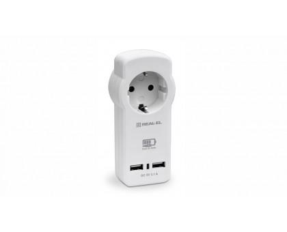 Зарядное USB-устройство c розеткой REAL-EL CS-30 белое