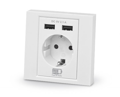 Розетка REAL-EL CSW-220 со встроенным блоком питания USB белая