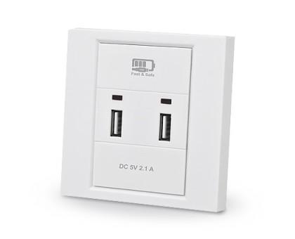 Розетка REAL-EL CW-202 со встроенным блоком питания USB белая