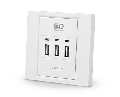 Розетка REAL-EL CW-303 со встроенным блоком питания USB белая