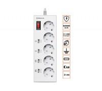 Фильтр-удлинитель REAL-EL RS-5F Charge 4 3m белый