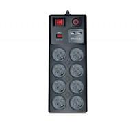 Фильтр-удлинитель REAL-EL RS-8F USB CHARGE 3m черный